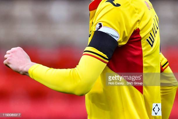 Black armbands are worn in honour of Partick Thistle majority shareholder Colin Weir who recently passed away ahead of the Ladbrokes Championship...