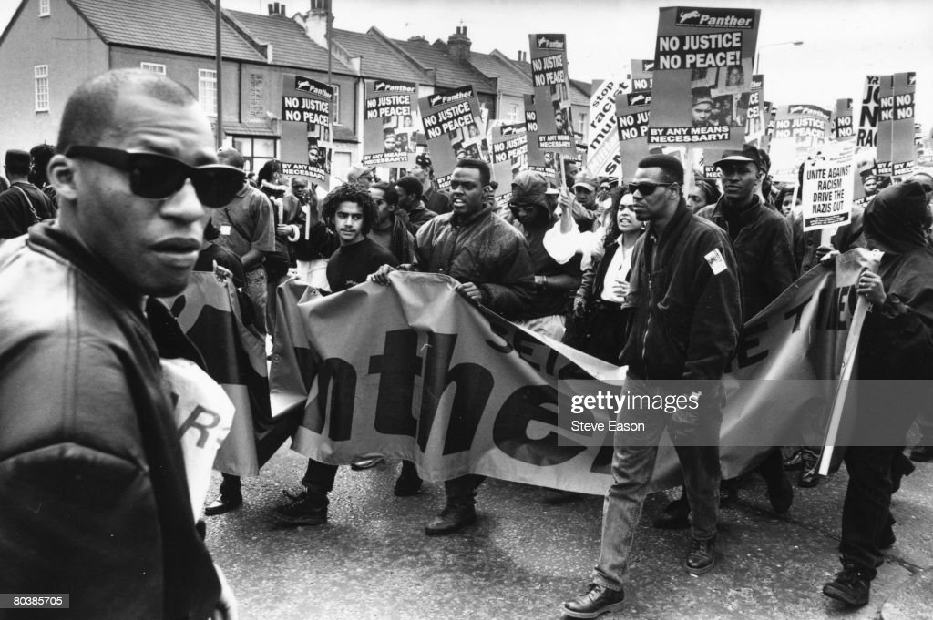 Black, Asian and white demonstrators unite to demonstrate against racism and fascism after recent racist murders and the election of a British National Party (BNP) councillor in east London, March 1993.