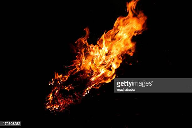 Black background with a burning flame