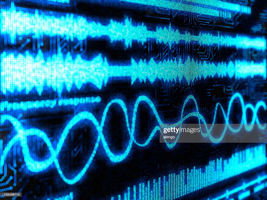 Black background with blue lines show sounds and equalizers : Stock Photo