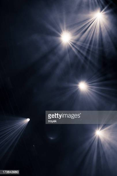 black background with five scattered spotlights - stage light stock pictures, royalty-free photos & images