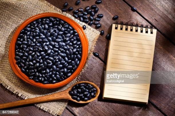 ボウルと空白のクックブックの黒豆