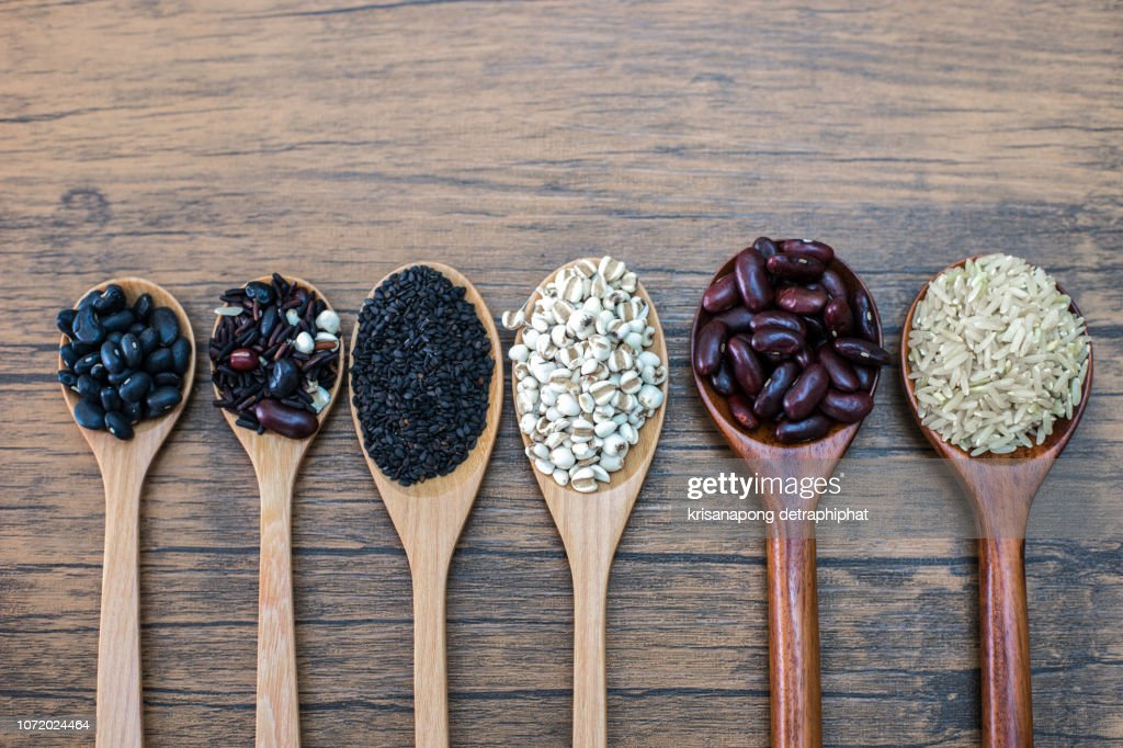 Black beans, red beans, black sesame, rice and cereals,bread : Stock Photo