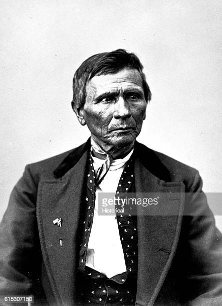 Black Beaver a Delaware born in Illinois in 1808 halflength photographed in 1872 | Location in a studio
