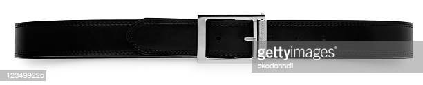 black belt isolated on white - leather belt stock pictures, royalty-free photos & images