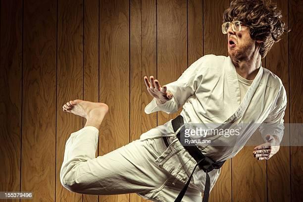 black belt karate nerd man - kung fu stock photos and pictures