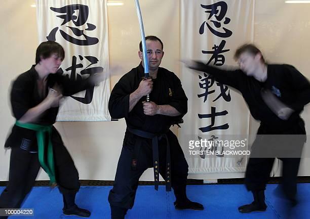 Black belt ninjutsu instructor Kaylan Soto trains ninjas in combat techniques at the Ninja Senshi Ryu near Sydney on May 20 2010 Kaylan and his...