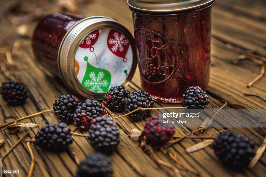 Black Berries And Berry Jelly Stock Photo