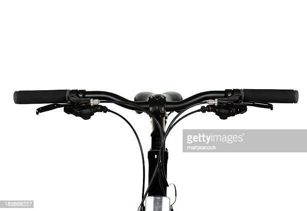 ブラックの自転車ハンドル白色の背景にしています。
