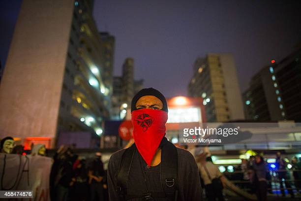 Black Bloc demonstrator protests against the lack of water that is affecting the entire state of Sao Paulo and against mismanagement of water...