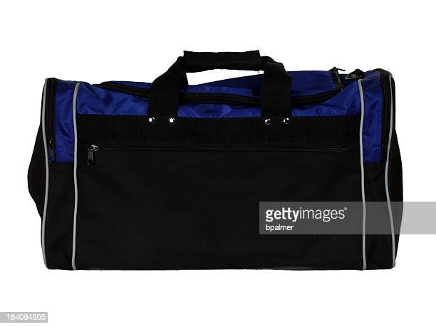 black & blue duffel bag - gym bag stock pictures, royalty-free photos & images