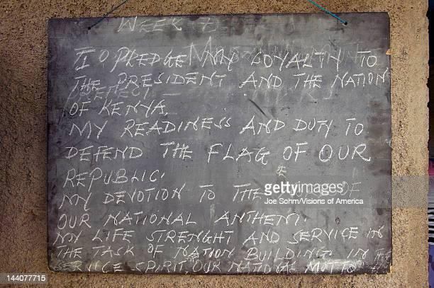 Black board in schoolhouse near Tsavo National Park Kenya Africa