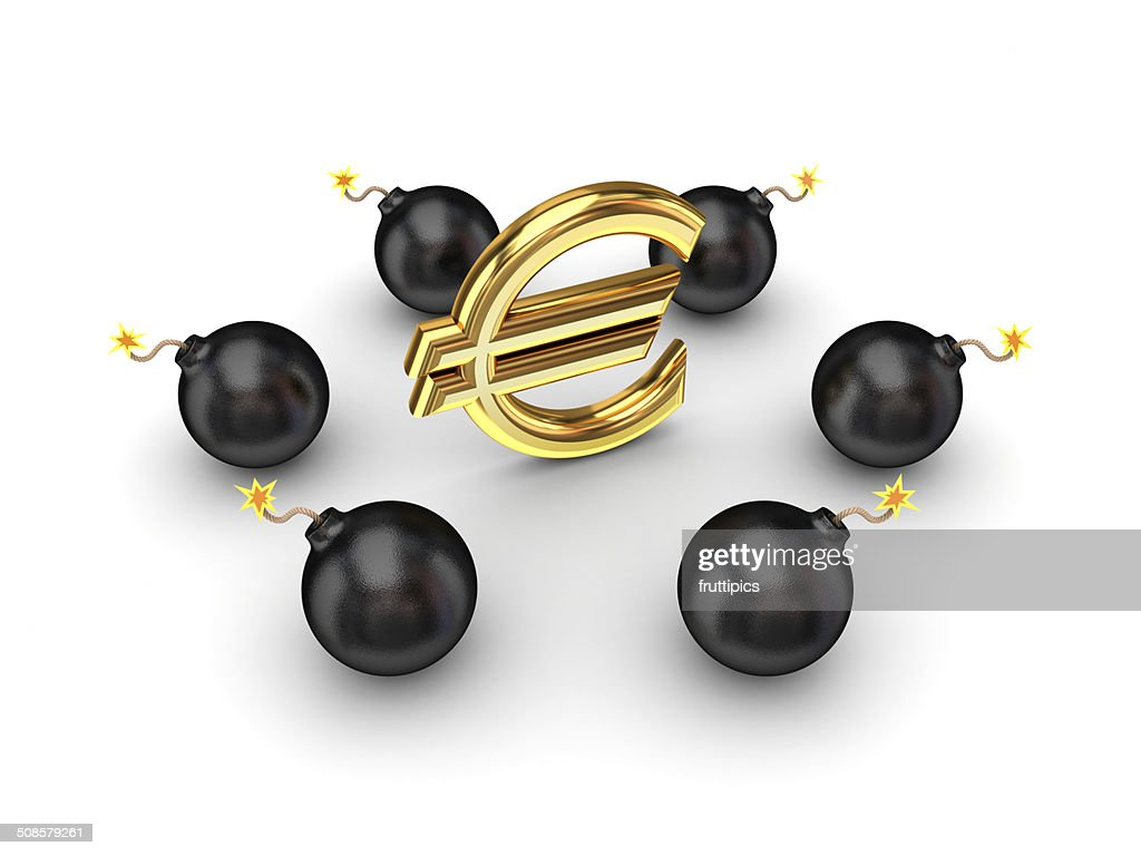 Black bombs around euro sign. : Stock Photo