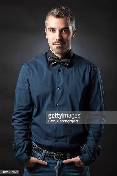 Black bow tie man portrait
