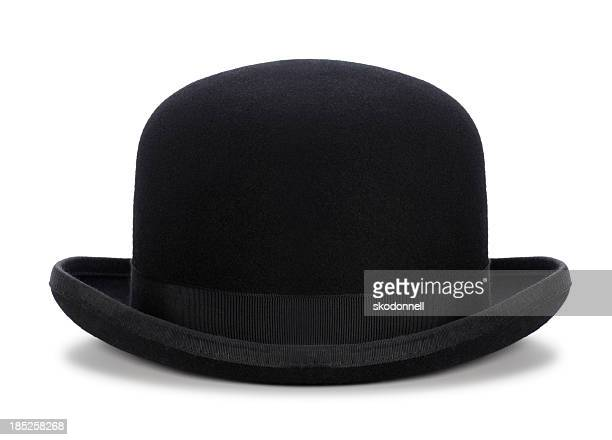 black bowler hat isolated on white - hat stock pictures, royalty-free photos & images
