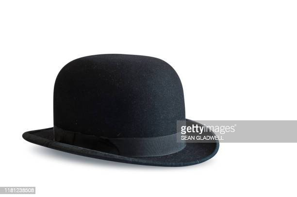 black bowler hat on white - hat stock pictures, royalty-free photos & images