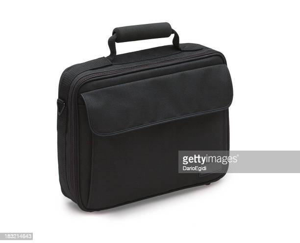 Black briefcase for notebook on white background