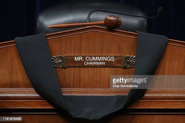 Black bunting is hung over the desk where House Oversight and Government Reform Committee Chairman Elijah Cummings sat during hearings in the Rayburn...