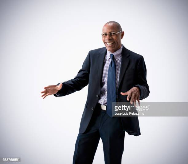Black businessman dancing