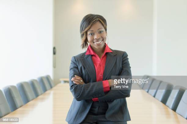 Black businesswoman in conference room