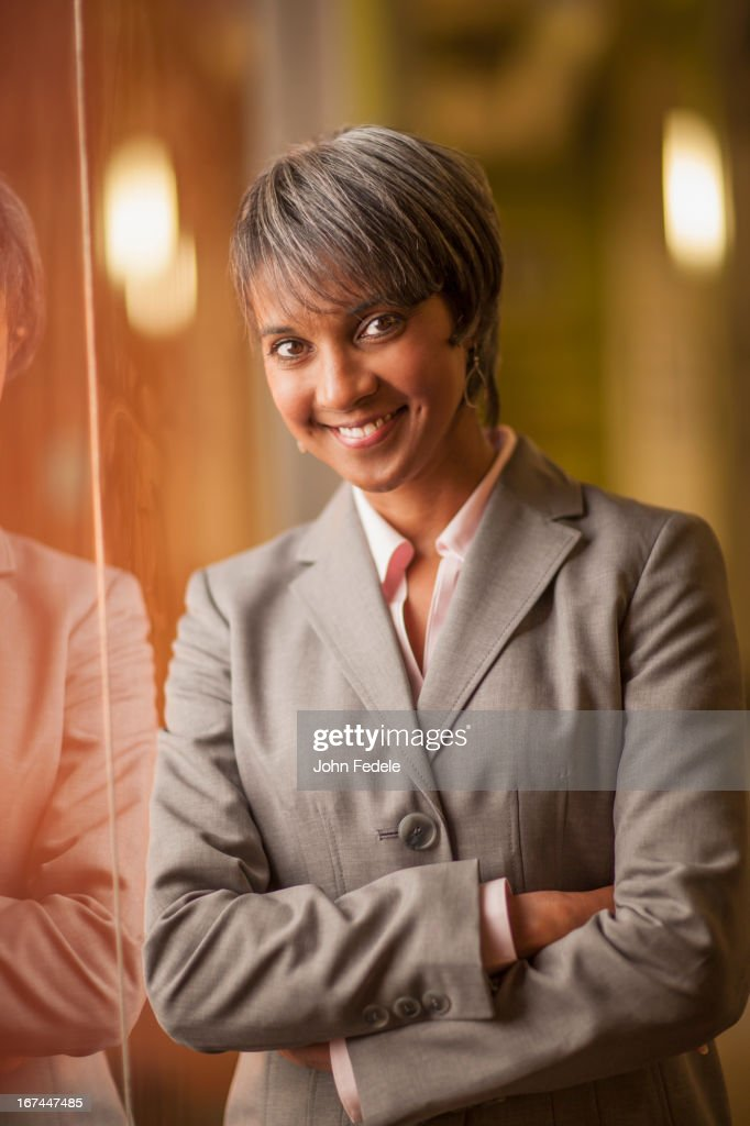 Black businesswoman smiling : Stock Photo