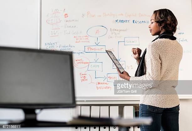black businesswoman using digital tablet in office near whiteboard - diagramma di flusso foto e immagini stock