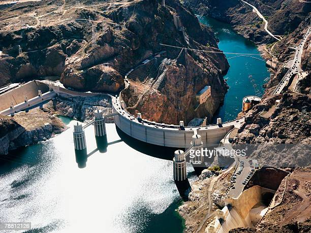 black canyon and the gravity arch boulder dam - hoover dam stock photos and pictures