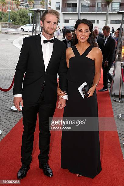 Black Cap Kane Williamson and partner arrive at the 2016 Halberg Awards at Vector Arena on February 18 2016 in Auckland New Zealand