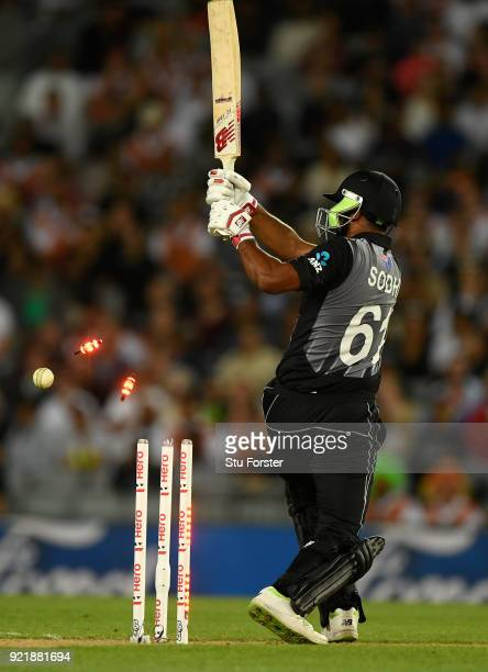 Black Caps batsman Ish Sodhi is bowled by Andrew Tye during the International Twenty20 Tri Series Final match between New Zealand and Australia at...