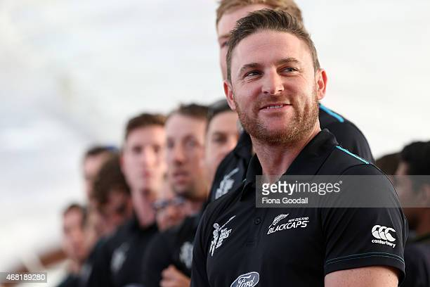 Black Caps captain Brendon McCullum and the team watch the haka during the Zealand Blackcaps Welcome Home Reception at Queen's Wharf on March 31 2015...