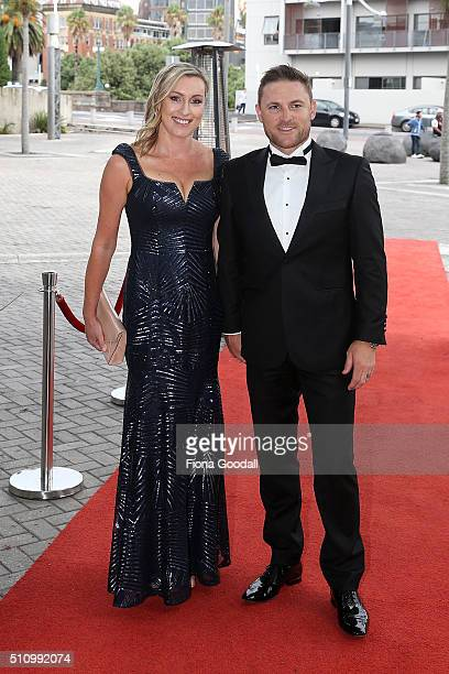 Black Caps captain Brendon McCullum and wife Ellissa McCullum arrive at the 2016 Halberg Awards at Vector Arena on February 18 2016 in Auckland New...