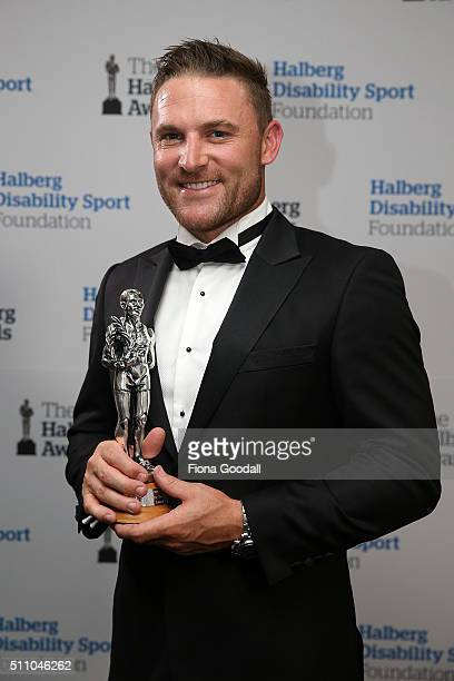 Black Caps captain Brendon McCullum wins the leadership Award during the 2016 Halberg Awards at Vector Arena on February 18 2016 in Auckland New...