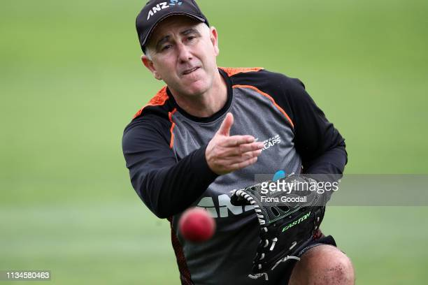 Black Caps coach Gary Stead warms up the batsmen after lengthy rain delays during day 2 of the second Test Series between New Zealand and Bangladesh...