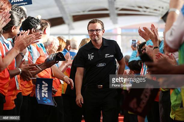 Black Caps coach Mike Hesson walks the red carpet during the Zealand Blackcaps Welcome Home Reception at Queen's Wharf on March 31 2015 in Auckland...