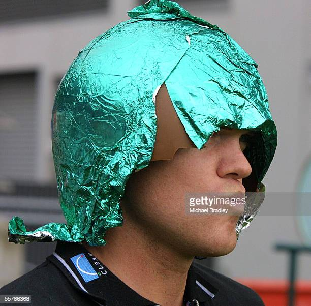 Black Caps Lou Vincent sees the funny side of the rain delayed match as he emerges from the changing rooms with half an easter egg on his head Which...