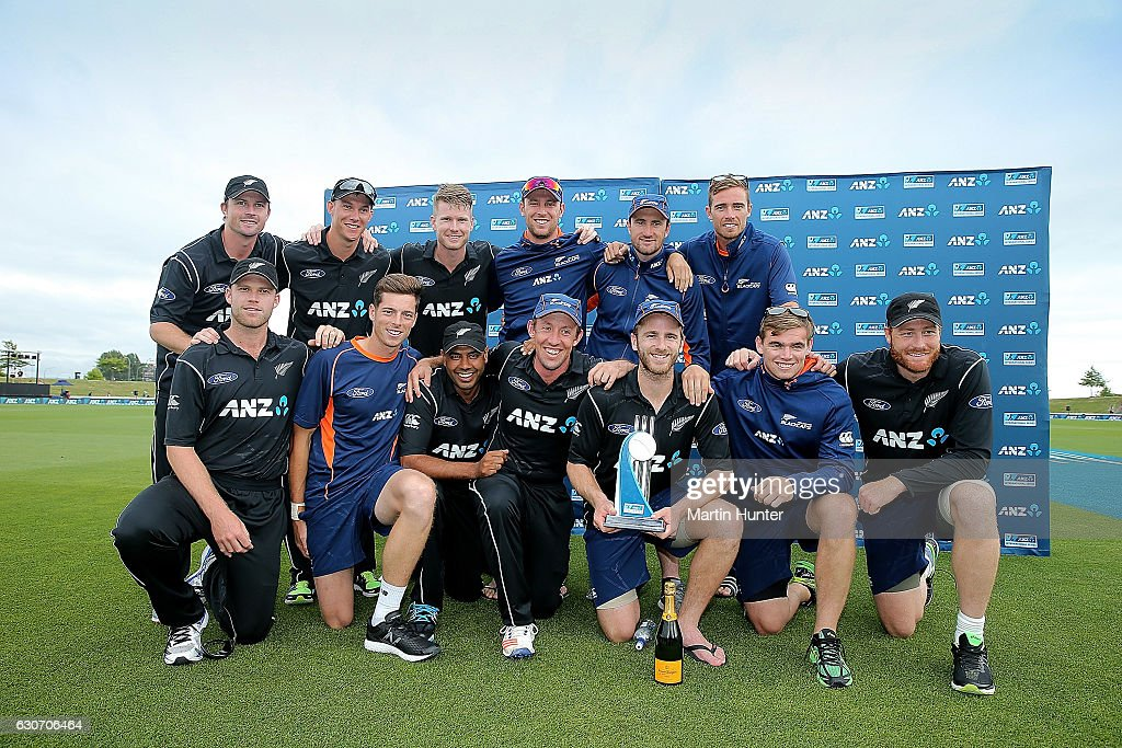 Black Caps players celebrate after winning the third One Day International match between New Zealand and Bangladesh at Saxton Field on December 31, 2016 in Nelson, New Zealand.