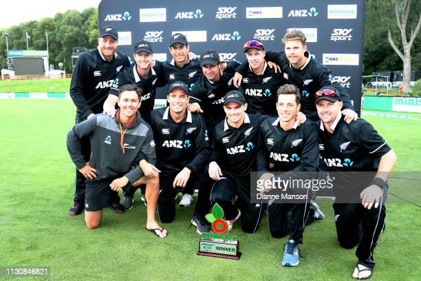 Black Caps pose for a photo after winning the ODI series against Bangladesh after Game 3 of the One Day International series between New Zealand and...