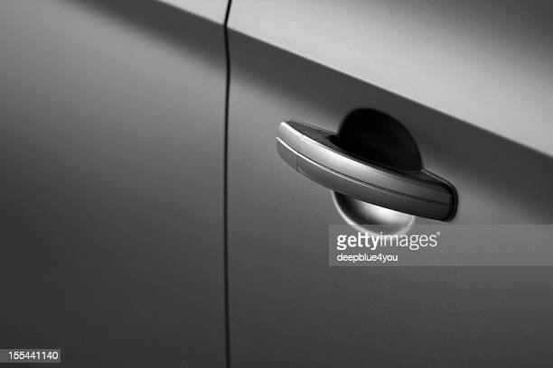 Black car doorhandle close up