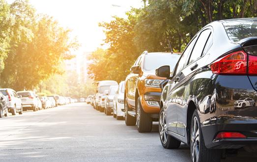 Black car parking in line outdoor 636317046