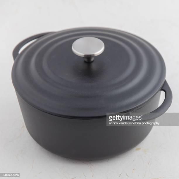 Black cast iron casserole.