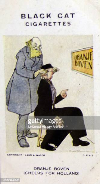 Black Cat Cigarettes World war One propaganda card showing a German optician saying to a Dutch patient 'What are you reading now' The Dutchman...