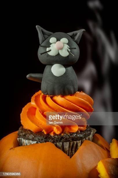 black cat cupcake - ian gwinn stock pictures, royalty-free photos & images