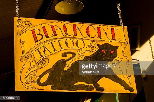 Black Cat Tattoo In Old Chinatown Downtown Honoluluhawaii Stock ...