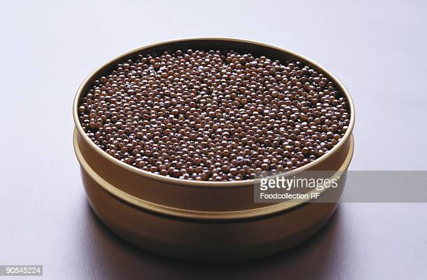 Black caviar in tin, close up