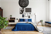 Black chandelier in navy blue bedroom in tenement house. Floor lamp between king size bed and small table with pot and clock on it. Real photo concept