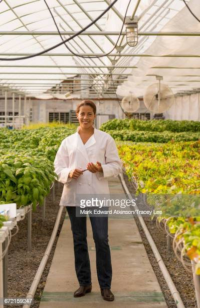 Black chef standing in greenhouse