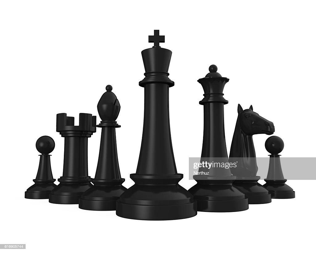 Black Chess Pieces : Stock Photo
