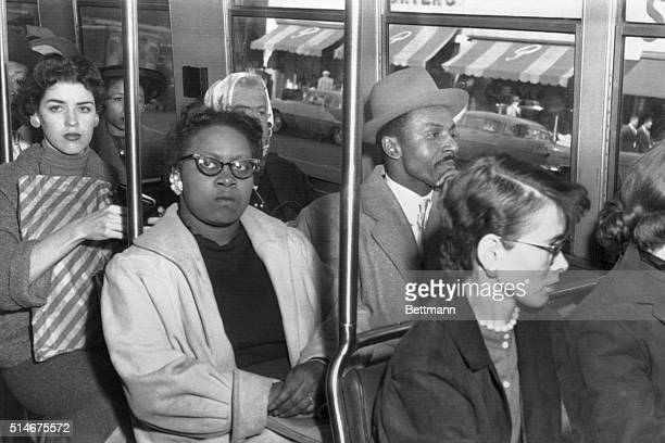 The Reverend FL Shuttlesworth a black integration leader whose home was blown up Christmas Day sits in the front section of a Birmingham bus December...