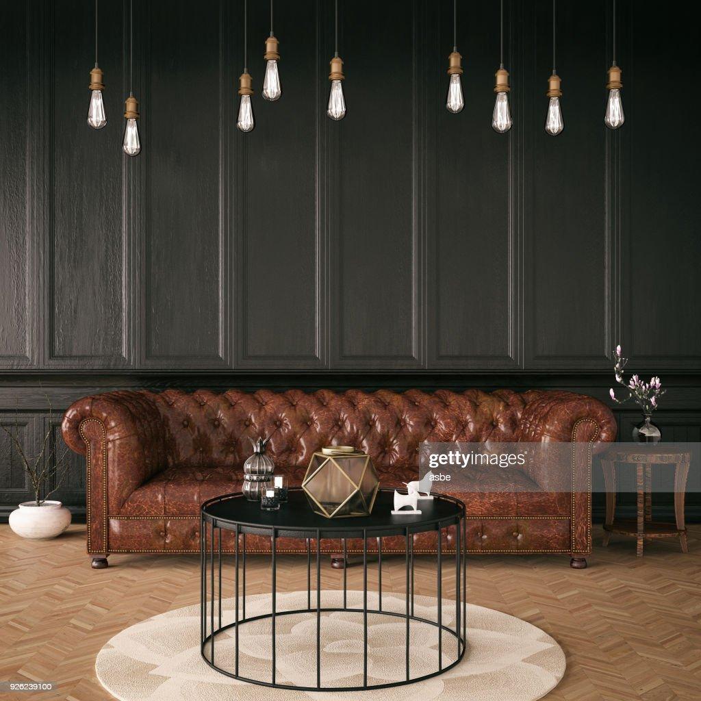 Black Classic Interior : Stock Photo