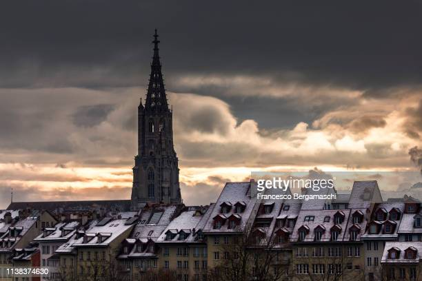 Black clouds above the Münster Cathedral. Bern, Canton of Bern, Switzerland, Europe.